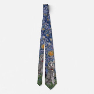 Starry Night with a Silver Standard Poodle #1 Tie