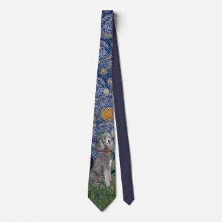 Starry Night with a Silver Standard Poodle (best) Tie