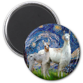 Starry Night with Two Llamas 6 Cm Round Magnet