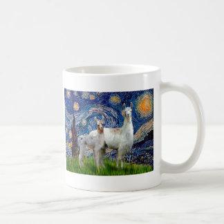 Starry Night with Two Llamas Basic White Mug