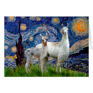 Starry Night with Two Llamas Card