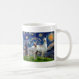 Starry Night with Two Llamas Classic White Coffee Mug