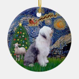 Starry Night Xmas - Old English Sheepdog Christmas Ornament