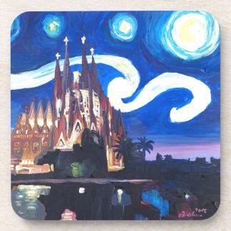 Starry nights at Sagrada Familia in Barcelona Coaster