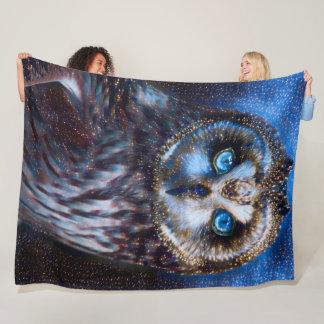 Starry Owl Shaman Spirit Fleece Blanket