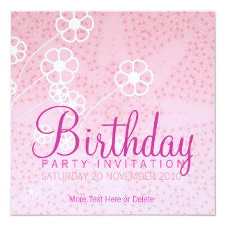 "Starry Pink Party Birthday Invitation 5.25"" Square Invitation Card"