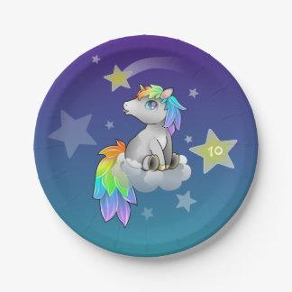Starry Rainbow Unicorn Customizable Party Plates