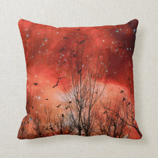 Starry Red Night Throw Pillow