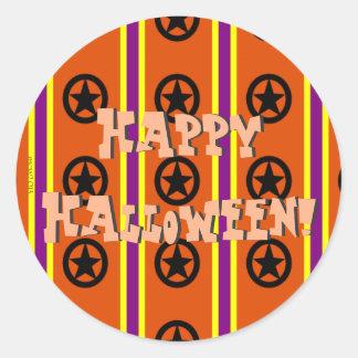 Starry Samhain Stripes Round Sticker
