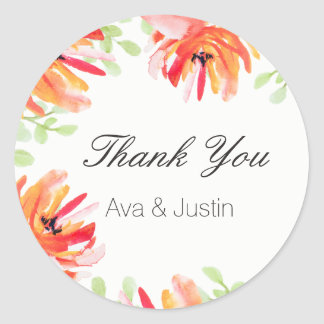 Starry Sky and Cactus Modern Thank You Classic Round Sticker