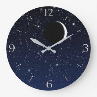 Starry Sky and Crescent Moon, Deep Blue to Black Large Clock