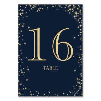 Starry Sky Sparkle Navy Blue Table Number Table Cards