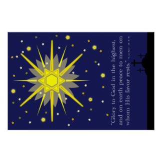 starry sky with crosses  luke 2:14 poster