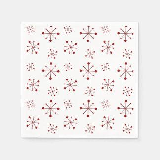 Starry Snowflakes Cranberry Disposable Serviettes