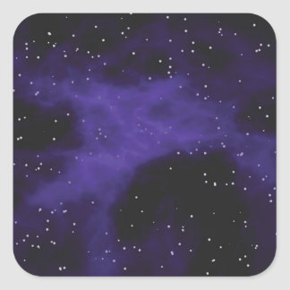 Starry Space Nebula Scene Square Sticker