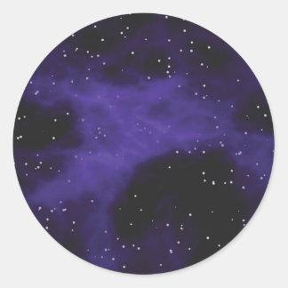 Starry Space Nebula Scene Round Sticker