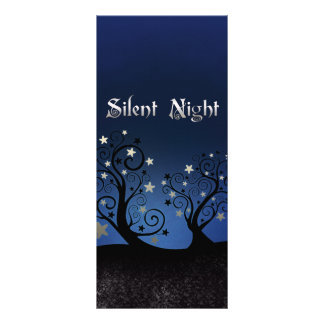 Starry Trees Silent Night Personalized Rack Card