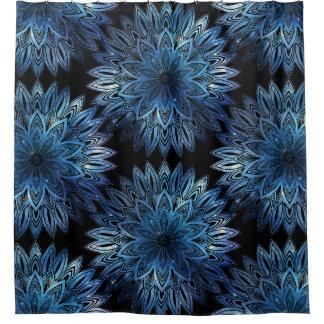 Starry Watercolor Blue Mandala Pattern Shower Curtain