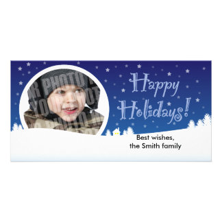Starry winter holiday photocard personalised photo card