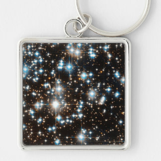 """Stars 2"" Silver-Colored Square Key Ring"