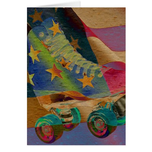 Stars Abstract Roller Skate Greeting Cards