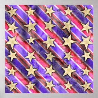 Stars And Flag Stripes Print