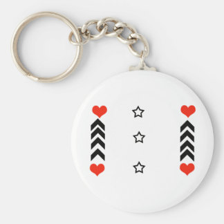 stars and hearts basic round button key ring