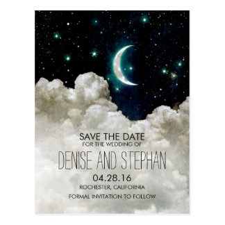Stars and Moon Save the Date Postcards