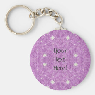 Stars and Purple Twilight Sky Basic Round Button Key Ring