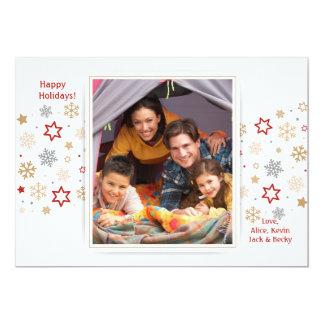Stars and Snowflakes Photo Holiday Card