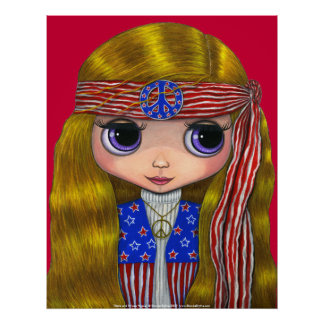 Stars and Stripes 4th of July Hippie Poster