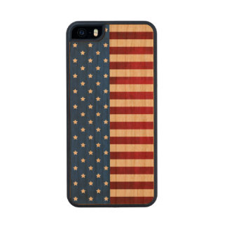 Stars And Stripes-American Flag Carved® Cherry iPhone 5 Case