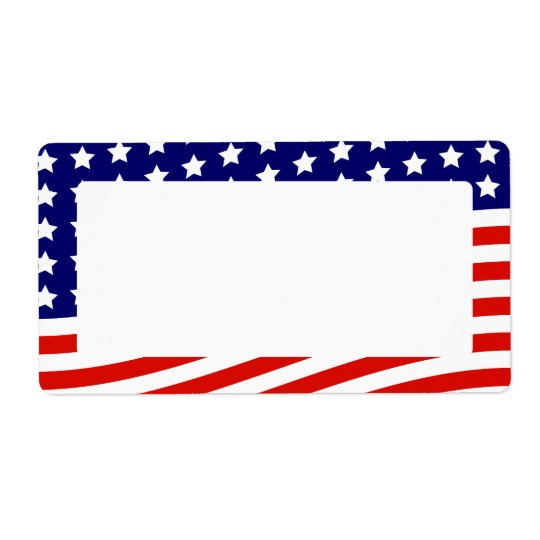 Stars and Stripes American Flag July 4th Shipping Label