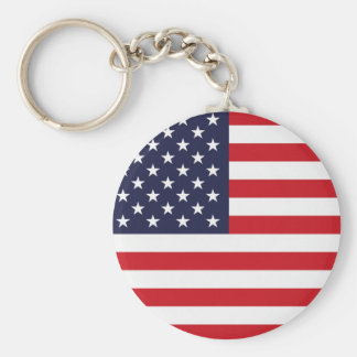 Stars and Stripes Basic Round Button Key Ring