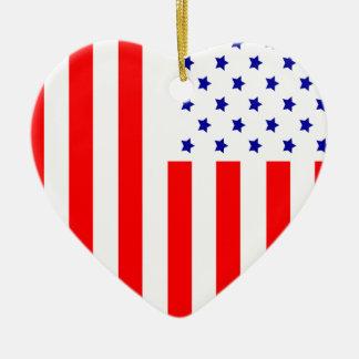 Stars and Stripes Ceramic Heart Decoration