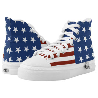 Stars and Stripes Custom High Top Printed Shoes