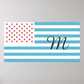 Stars and Stripes customizable monogram Poster