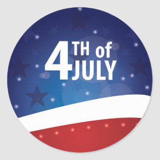 Stars and Stripes Fourth of July Round Stickers