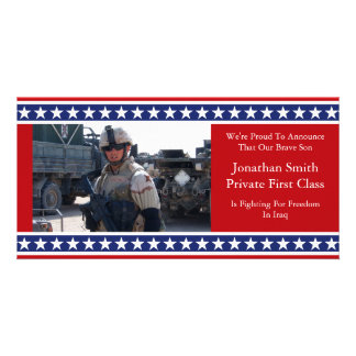 Stars And Stripes Military Announcement Photo Greeting Card