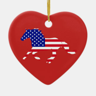 Stars and Stripes Mustang Red & Blue Heart Christmas Ornament