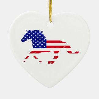 Stars and Stripes Mustang White Heart Christmas Ornament