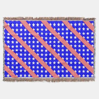 Stars and Stripes of USA, Patriotic Flag Design Throw Blanket