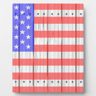 Stars And Stripes On A Fence Display Plaques