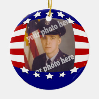 Stars and Stripes Patriotic Custom Photo Red White Christmas Ornament