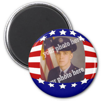 Stars and Stripes Patriotic Custom Photo Red White 6 Cm Round Magnet