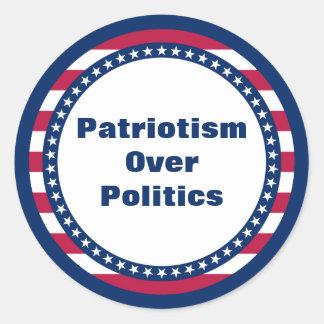 Stars and Stripes Patriotism Over Politics Round Sticker