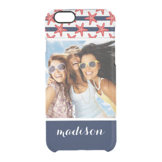 Stars And Stripes Pattern | Your Photo & Name Clear iPhone 6/6S Case