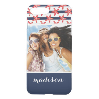 Stars And Stripes Pattern | Your Photo & Name iPhone 8 Plus/7 Plus Case