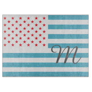 Stars and Stripes personalized monogram Cutting Board