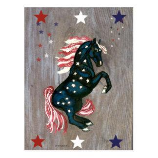 Stars and Stripes Rearing Stallion  Postcard